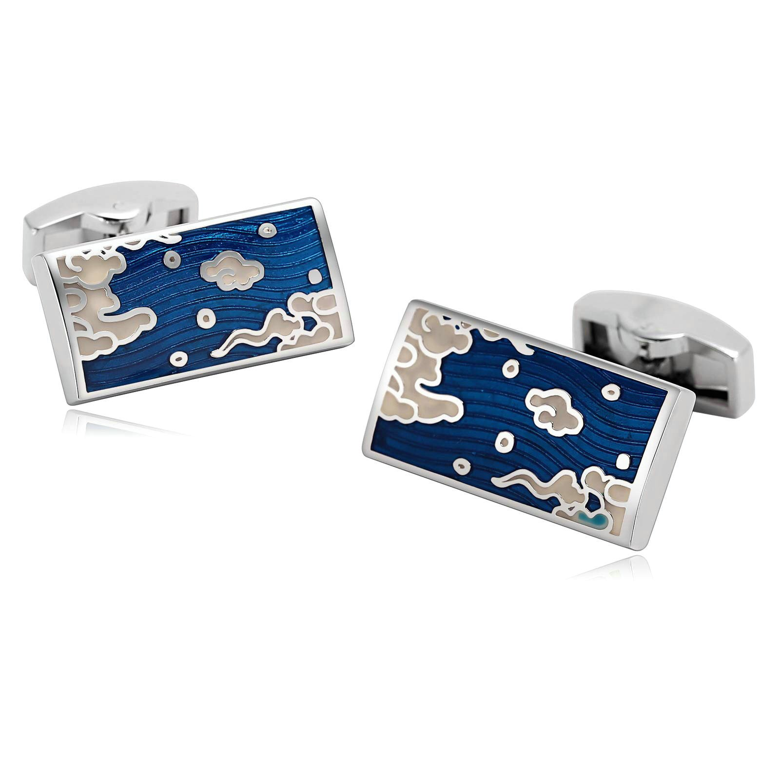 Aooaz Cufflinks for Men Stainless Steel Cuffs Rectangle Engraved Cloud Blue Cufflinks 1.2X2.5CM Blue