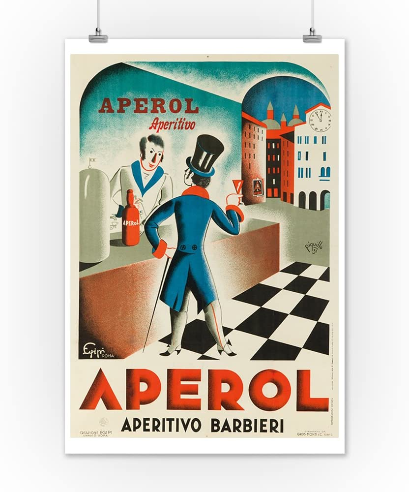 Italy - Aperol - (artist: Piquillo c. 1931) - Vintage Advertisement (12x18 Fine Art Print, Home Wall Decor Artwork Poster)