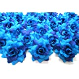 "(100) Silk Two Tone Blue Roses Flower Head - 1.75"" - Artificial Flowers Heads Fabric Floral Supplies Wholesale Lot for Wedding Flowers Accessories Make Bridal Hair Clips Headbands Dress"