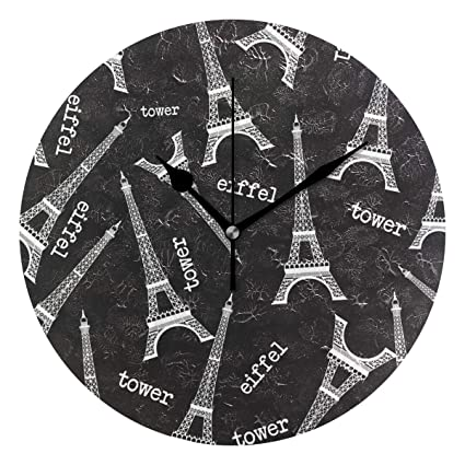 Anmarco Paris Eiffel Tower Print Wall Clock, 10 Inch Silent Non Ticking Quartz Battery Operated