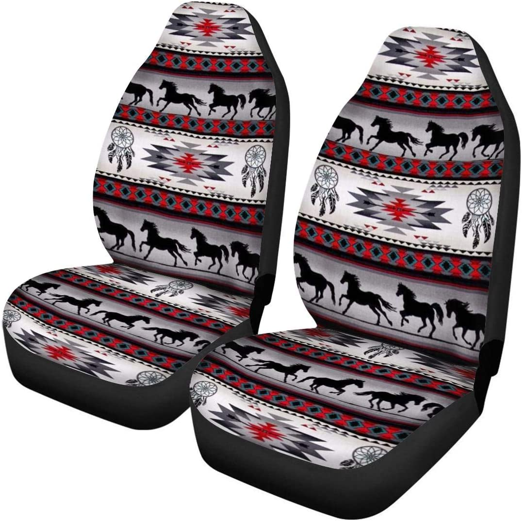 Animal Space Moon Wolf Pattern Stretch Seat Protector for Car ELEQIN Air Cushion Universal Car Interior Seat Covers 2 Piece SUV /& Trunk