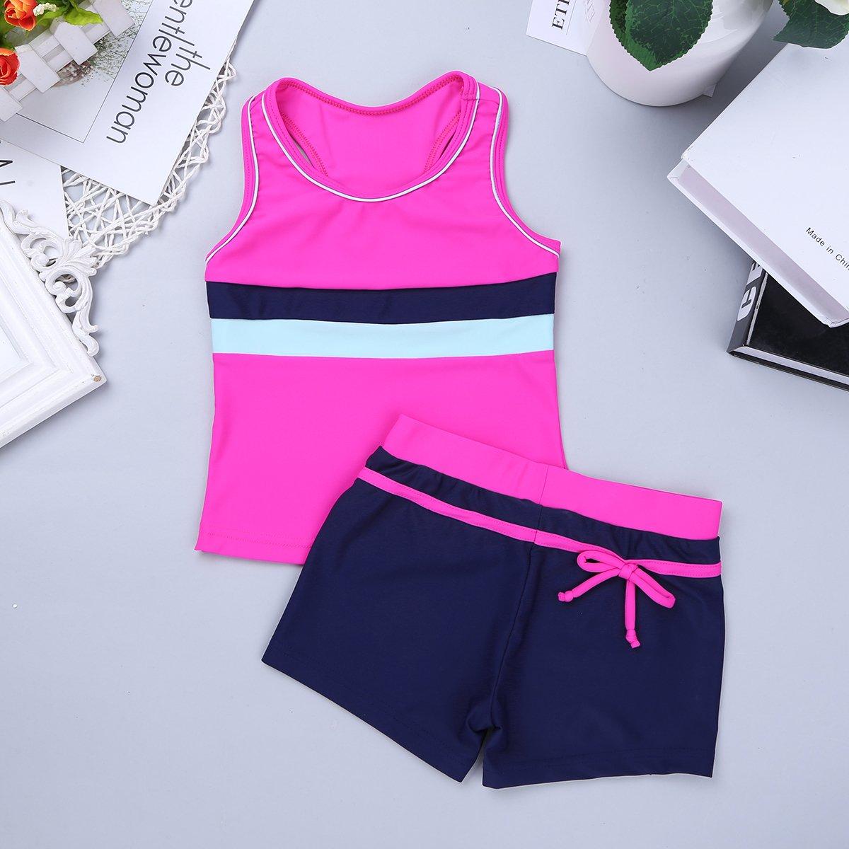 iiniim Little Girls Kids Summer Two Piece Boyshort Tops Tankini Kids Swimsuit Swimwear Set