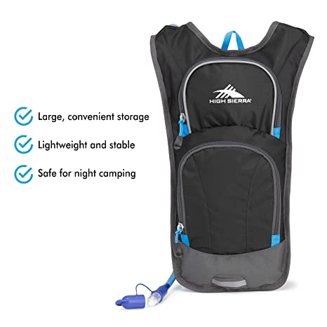 Amazon.com : High Sierra HydraHike 4L Hydration Pack with 2L Reservoir Included (Black/Slate/Pool) : Sports & Outdoors