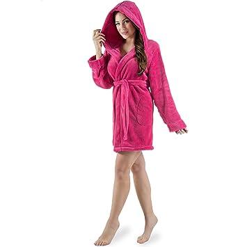 06de4d486b8d49 Damen Bademantel mit Kapuze, flauschiger Sherpa-Fleece, kurzer Saunamantel  für Wellness Spa,