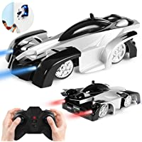 SGILE Remote Control Wall Climbing Car Toy - Dual Mode 360° Rotating Stunt Car Rechargeable Racing Vehicle Gift for Kids - Black