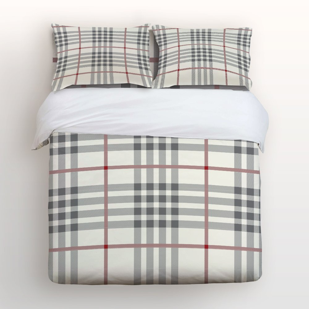 Libaoge 4 Piece Bed Sheets Set, Red Grey Plaid and Stripe Pattern, 1 Flat Sheet 1 Duvet Cover and 2 Pillow Cases