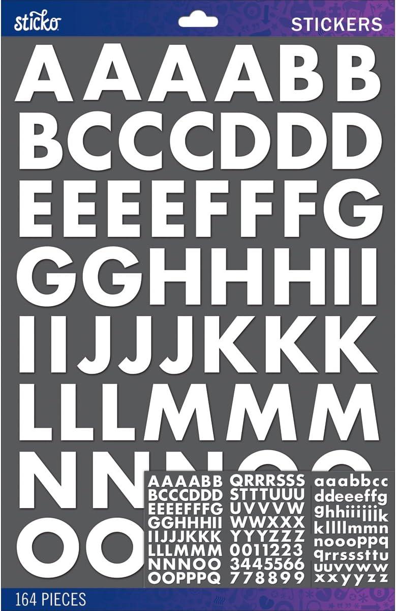 Sticko Alphabet Futura Bold Stickers, Large, White