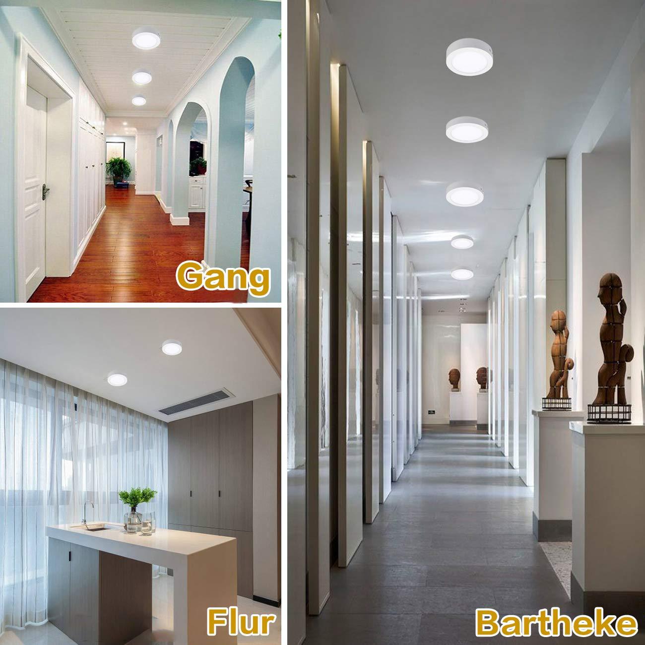 6W Panel Deckenlampe K/üche Nicht Dimmbar, 5 St/ück Kinderzimmer Energieklasse A+ Kaltwei/ß Downlight f/ür Wohnzimmer Schlafzimmer LED Deckenleuchte Rund Flur