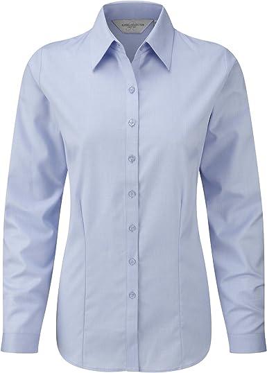 Russell- Camisa de Trabajo de Manga Larga en Tela en espiguilla para Mujer: Amazon.es: Ropa y accesorios