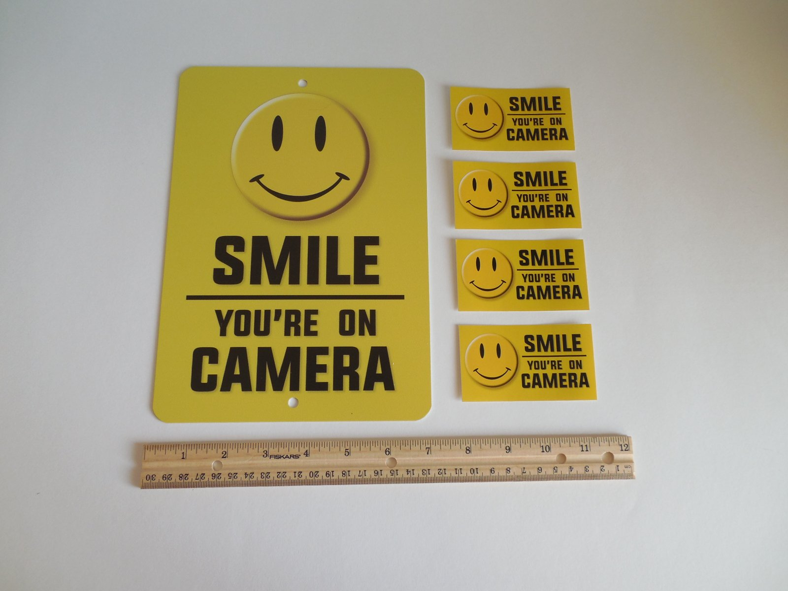 Security Signs Smile You're On Camera Video Surveillance Warning Metal 4 Window Stickers # 721