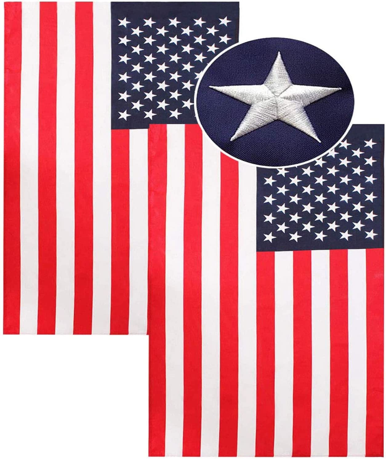 American Flag 12''x18'', Sewn Stripes Embroidered Stars US Nylon Flag for Outdoor and Indoor Use, Office Workplace Home Garden Business