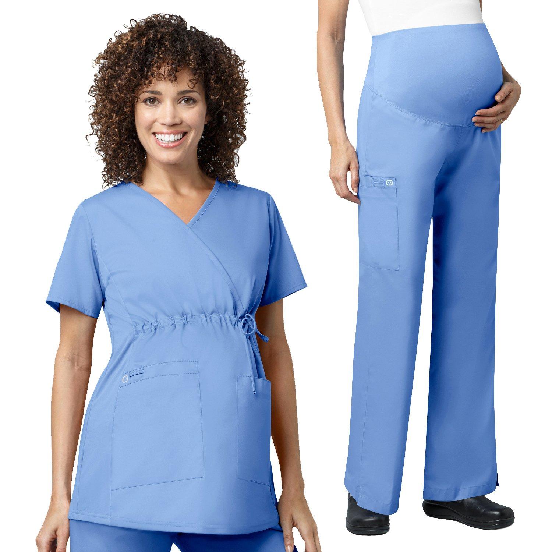 WonderWork Maternity Mock Wrap Scrub Tops &Women's Maternity Cargo Pant Set [XS - 3XL]
