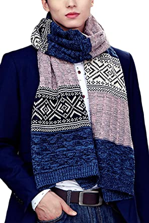 Men Winter Wool Scarf Warm Soft Knit Floral Classic Scarves
