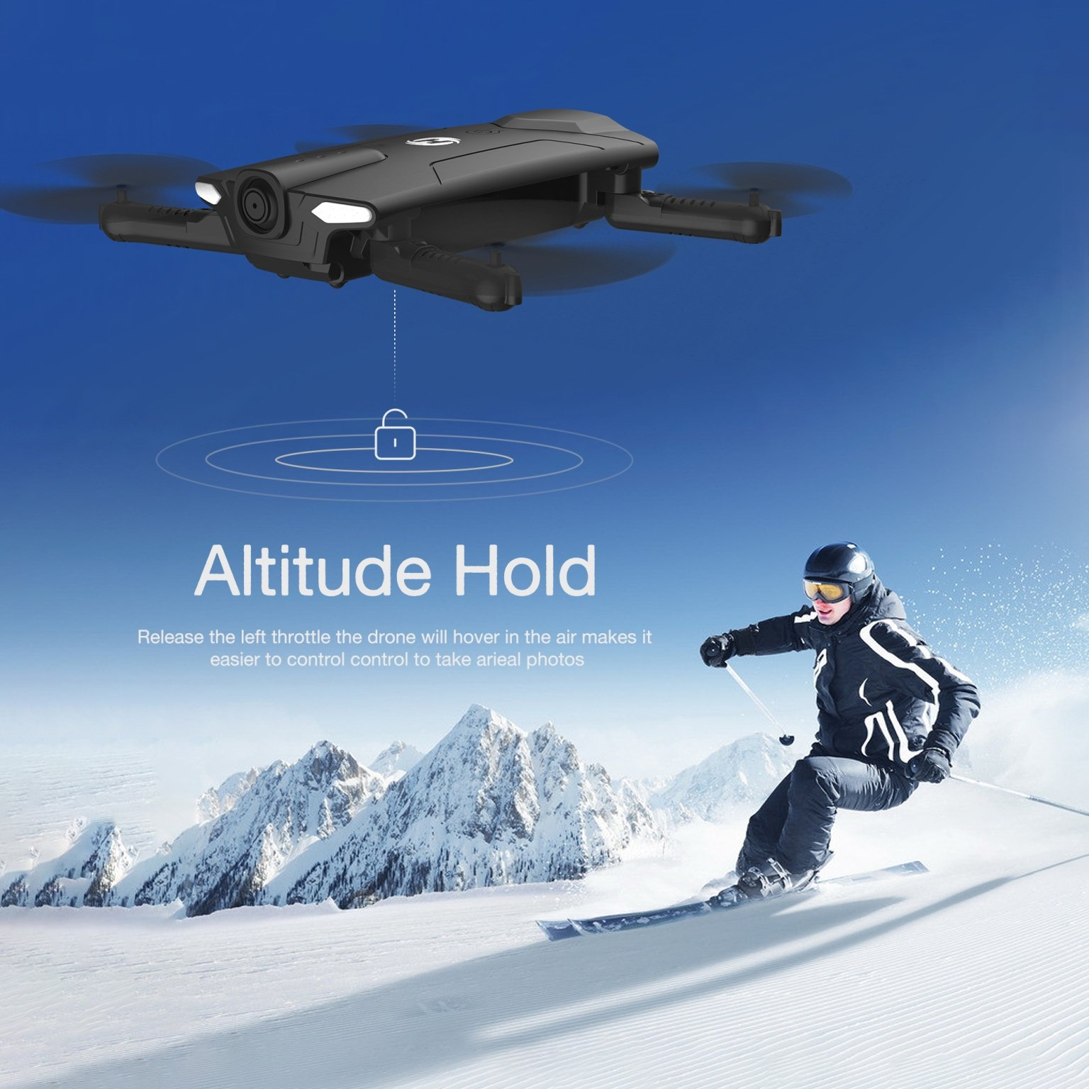 Holy Stone HS160 Shadow FPV RC Drone with 720P HD Wi-Fi Camera Live Video Feed 2.4GHz 6-Axis Gyro Quadcopter for Kids & Beginners - Altitude Hold, One Key Start, Foldable Arms,Bonus Battery by Holy Stone (Image #5)