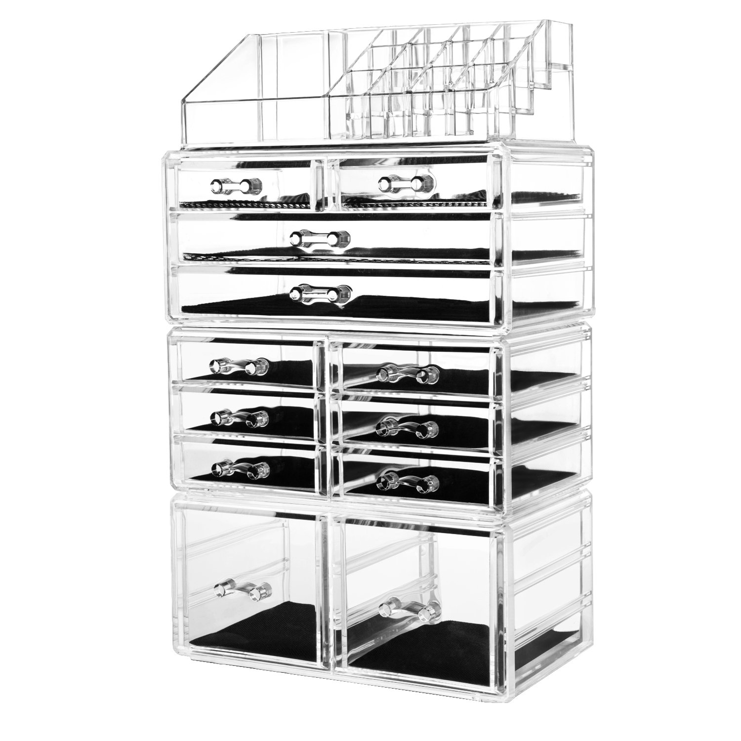 HBlife Makeup Organizer Acrylic Cosmetic Storage Drawers and Jewelry Display Box with 12 Drawers, 9.5'' x 5.4'' x 15.8'', 4 Piece