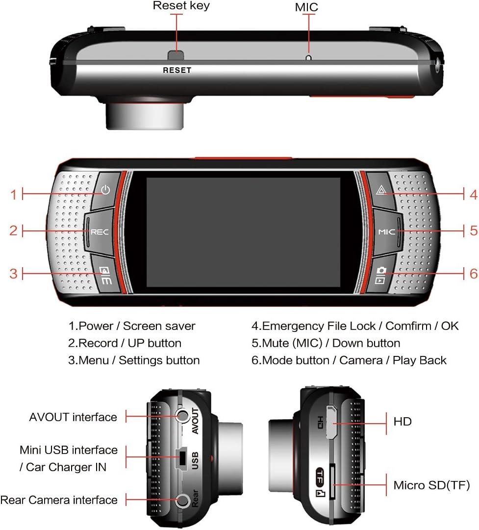Accfly /écran 6,9/cm HD 1080p Enregistreur vid/éo DVR Double lentille Cam/éra de Tableau de Bord