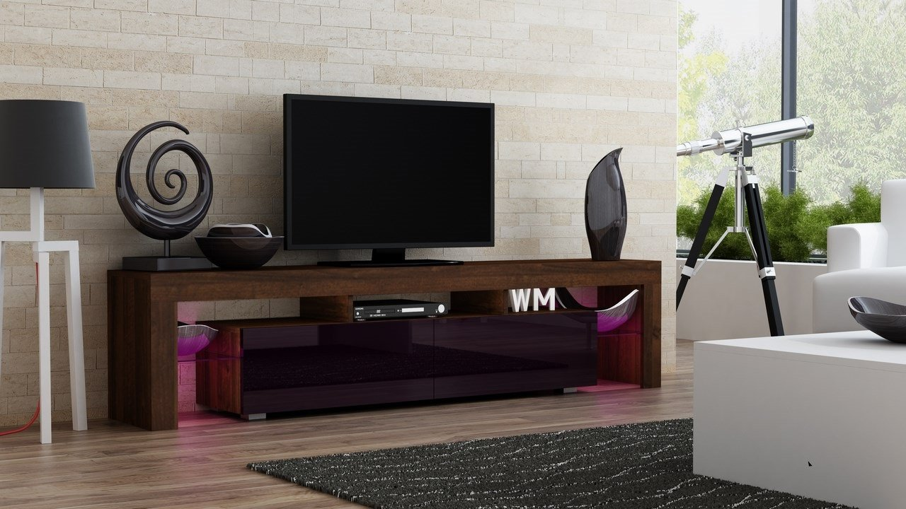 TV Stand MILANO 200 Walnut Line / Modern LED TV Cabinet / Living Room Furniture / Tv Cabinet fit for up to 90-inch TV screens / High Capacity Tv Console for Modern Living Room (Walnut & Violet)