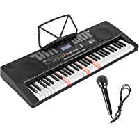 LAGRIMA 61 Key Electric Keyboard Piano w/Light Up Keys for Beginner, Lighted Portable Keyboard w/Music Player Function…