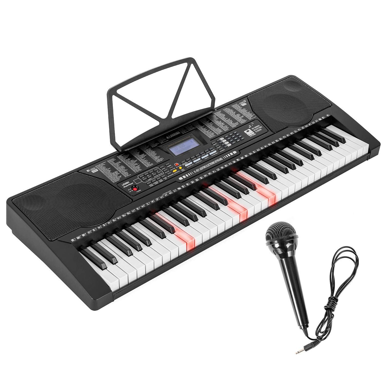 LAGRIMA 61 Key Electric Keyboard Piano w/Light Up Keys for Beginner, Lighted Portable Keyboard w/Music Player Function, Micphone, Power Supply, Music Stand, Black
