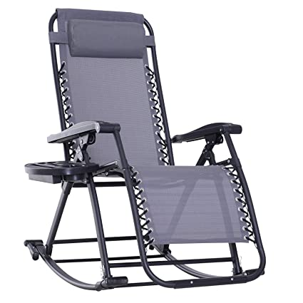 Super Outsunny Folding Zero Gravity Rocking Lounge Chair With Cup Holder Tray Grey Pabps2019 Chair Design Images Pabps2019Com