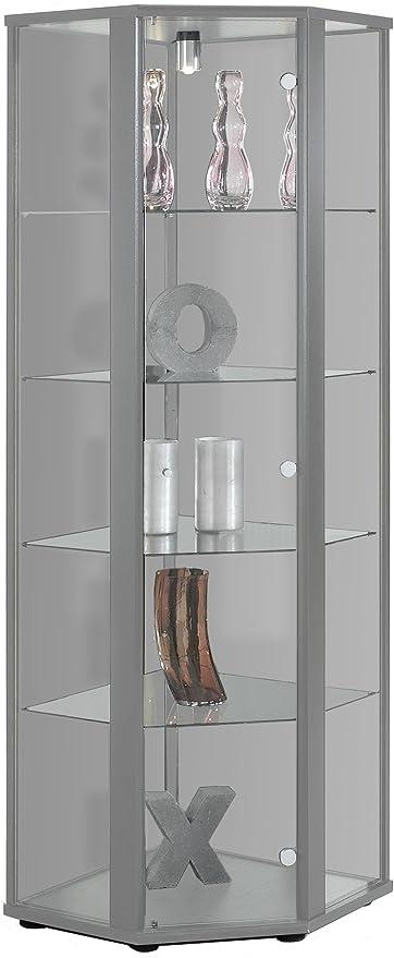 176x56,5x56,5 cm K-M/öbel Vitrine dangle en Argent avec 4 /étag/ères en Verre ESG ; /éclair/ée ; Parfaite pour Les collectionneurs ;