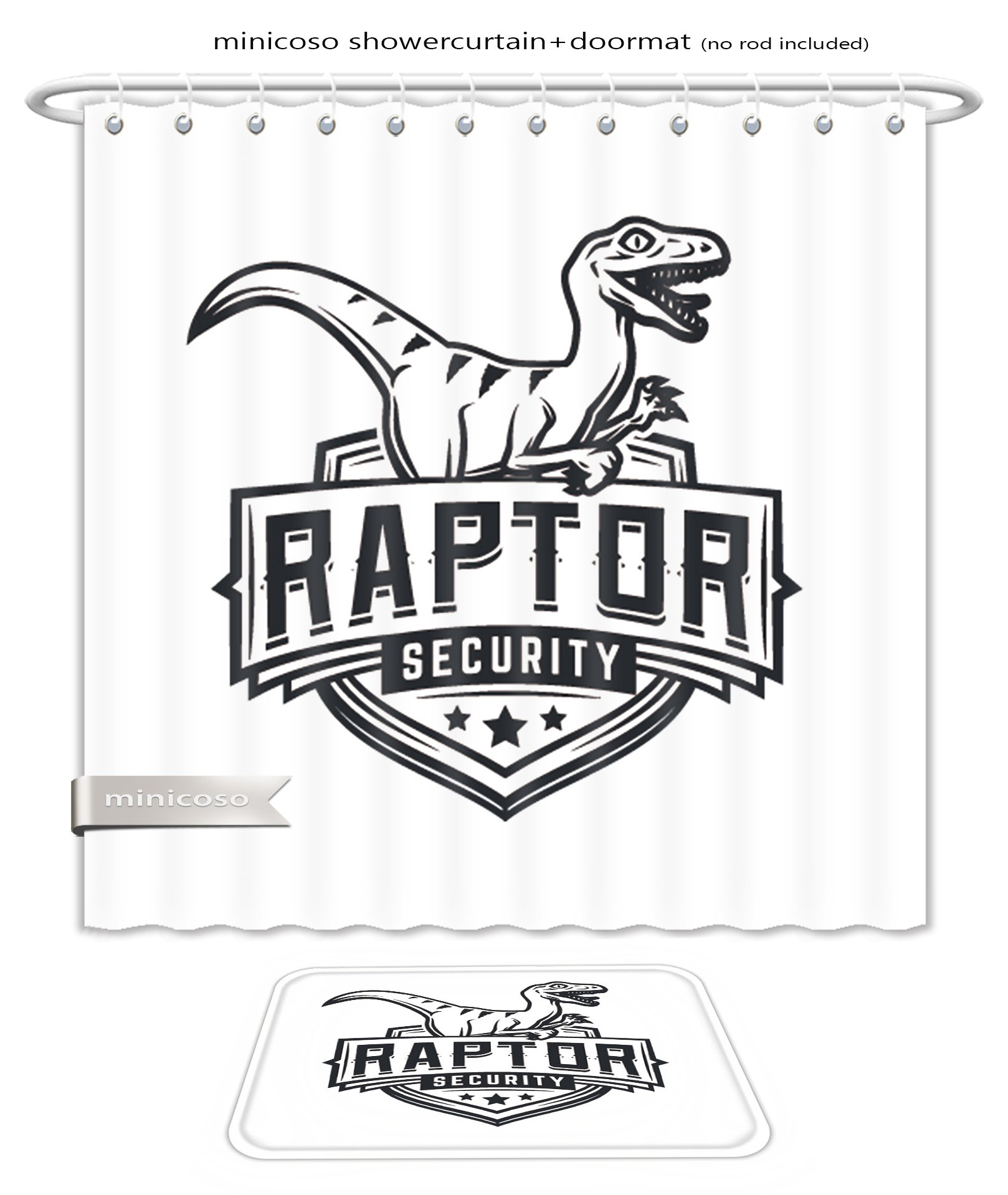 Minicoso Bath Two Piece Suit: Shower Curtains and Bath Rugs Raptor Sport Logo Mascot Design Vintage College Team Coat Of Arms Military Dino Vector Logotype Shower Curtain and Doormat Set