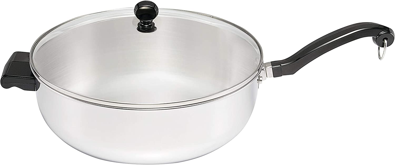 Farberware Classic II Stainless Steel Fry Saute Pan/Chefpan with Lid, 6 Quart, Silver,70097