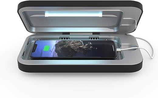 PhoneSoap 3 Desinfectante UV para teléfonos celulares y Cargador Doble Universal para teléfonos | Sanitizador UV Patentado y clínicamente Probado | Limpia y Carga Todos los teléfonos - Negro