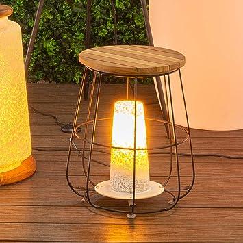 Mesita lámpara para Interior y Exterior de Madera marrón ...