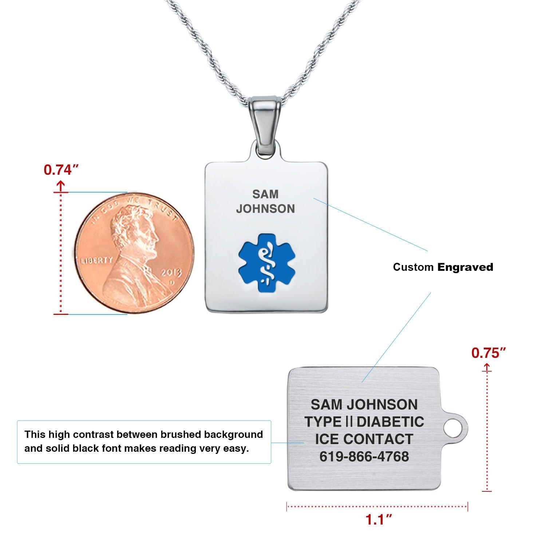 Divoti Deep Custom Laser Engraved Sleek 316L Medical Alert Necklace 24 Stainless Twist Rope Chain
