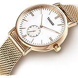 Time100 Orologio da Polso per Coppia Uomo e Donna Movimento al Quarzo Cinturino in Acciaio Inossidabile