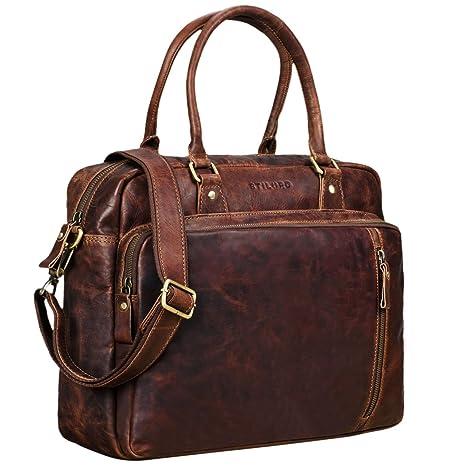 58ef145d98a529 STILORD 'Amilia' Borsa da lavoro donna in pelle vera stile vintage  Portadocumenti per PC