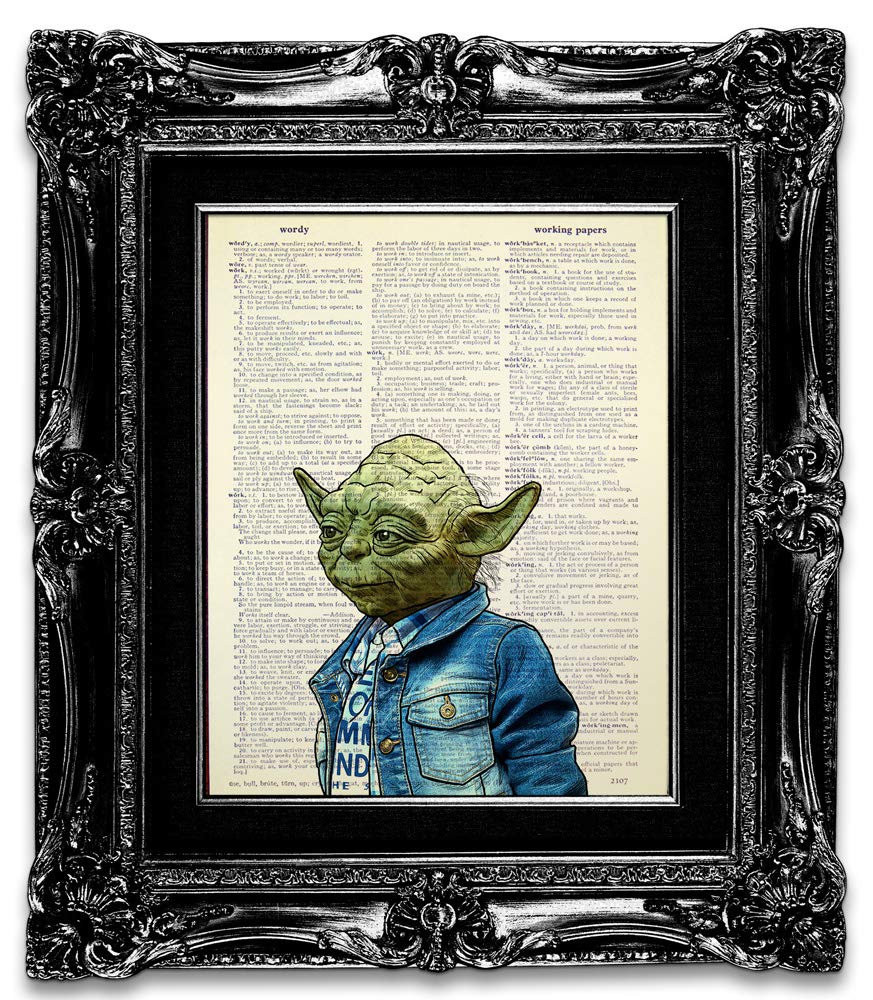 Amazon Com Star Wars Wall Decor For Bathroom Wall Art For Man Kids Him Funny Star Wars Yoda Poster In Denim Jacket Print On Vintage Dictionary Book Page Original Painting For Office Unusual