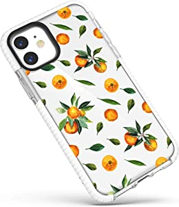 Case for iPhone 12/iPhone 12 Pro,Sweet Orange Tangerines with Green Leaves Funny Tropical Fruits Trendy Soft Protective Clear Case with Design for Girls Women Compatible for iPhone 12/iPhone 12 Pro