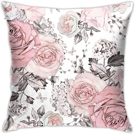 Amazon Com Yaateeh Pink Flowers Leaves Watercolor Floral Rose Throw Pillow Covers Decorative 18x18 Inch Pillowcase Square Cushion Cases For Home Sofa Bedroom Livingroom Home Kitchen