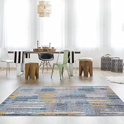 The Rug House Tapis Moderne Abstrait Pictural Jaune Moutarde Ocre Or