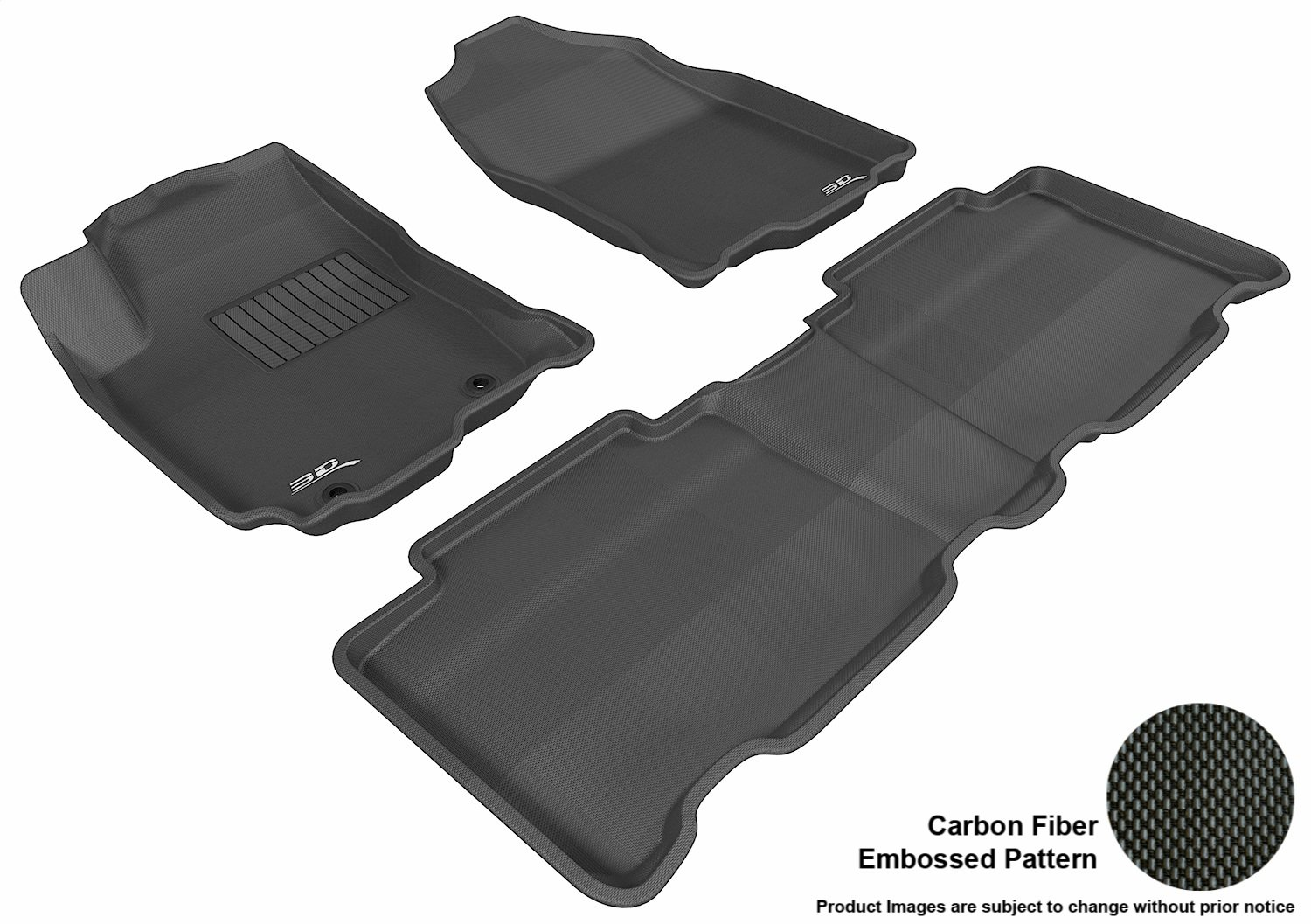 Black 3D MAXpider Second Row Custom Fit All-Weather Floor Mat for Select Toyota RAV4 Models Kagu Rubber