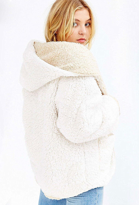 007370c753 Choies Women s Reversible Faux Fur Winter Hooded Cardigan Coat Black Beige  Burgundy at Amazon Women s Coats Shop