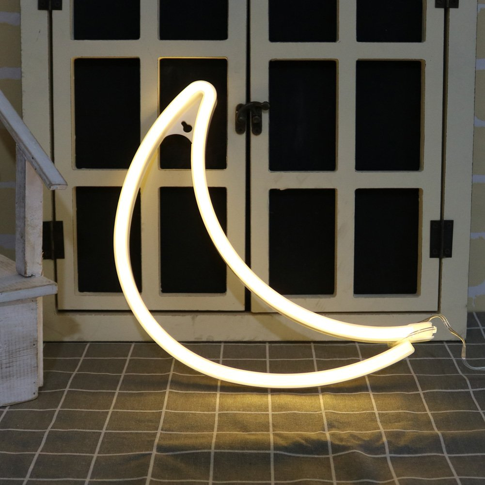 DELICORE Decorative LED Moon Shaped Neon Night Light With Warm White Lamp-Neon Night Light Operated By Battery/USB for Children's room Party Christmas Wedding Decoration