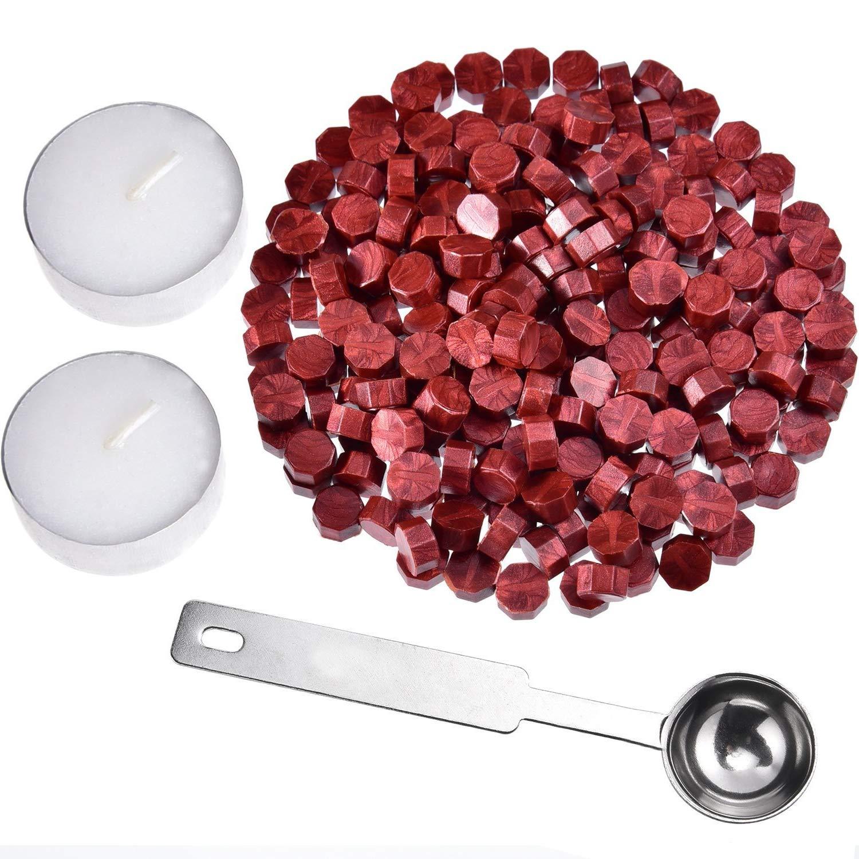 Lvcky ottagonale da 230pezzi di ceralacca bastoni con 2pezzi tè candele e 1pezzi cera fusione cucchiaio per cera sigillante (vino rosso)