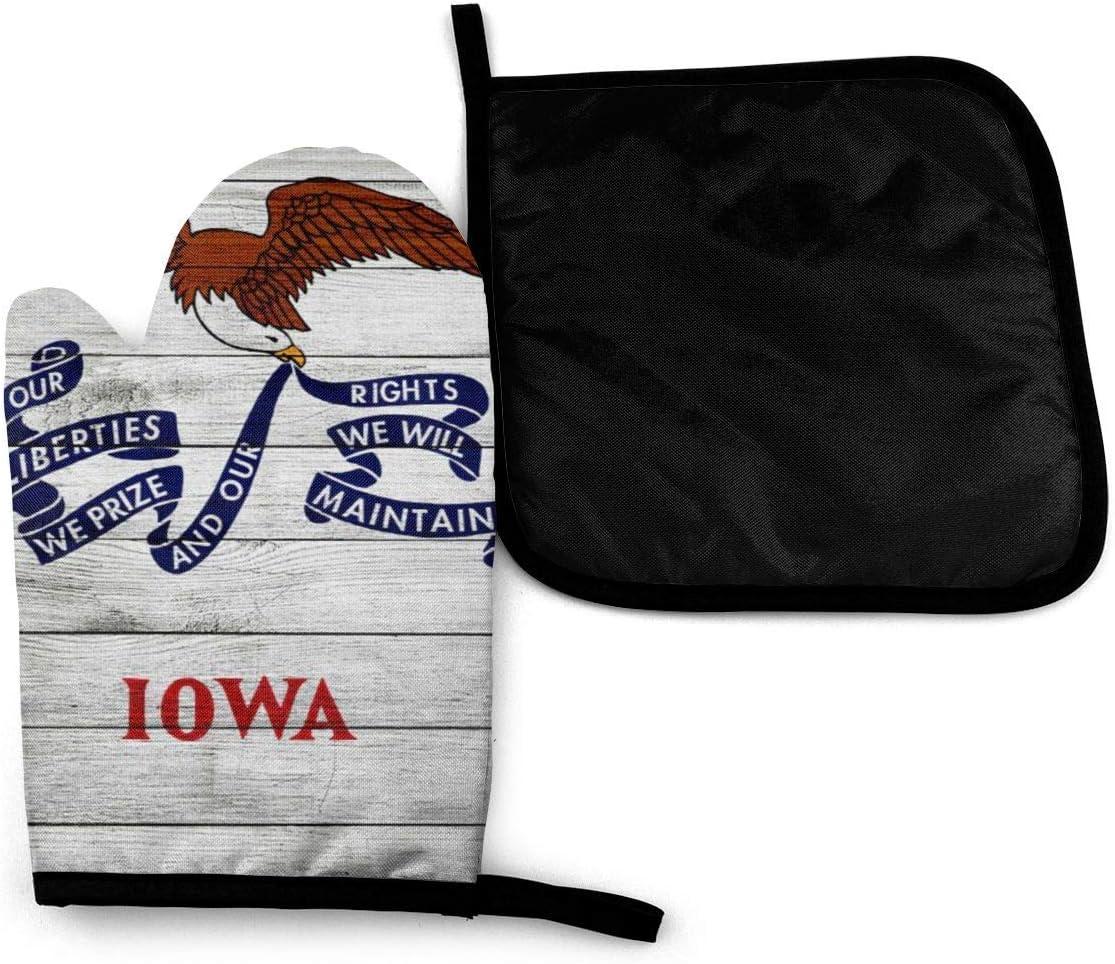 HGFK Textura de madera Bandera del estado de Iowa Mitones para horno de microondas y soportes para ollas Juego de cubiertas Manta de aislamiento térmico Alfombrilla para guantes Guantes para hornear