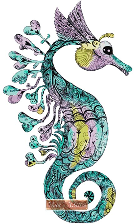 Amazon Watercolour Seahorse Counted Cross Stitch Kit With 16