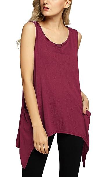Urban GoCo Mujeres Casual Verano Color Sólido Blusa Camiseta Sin Mangas Chaleco Tank Tops (S