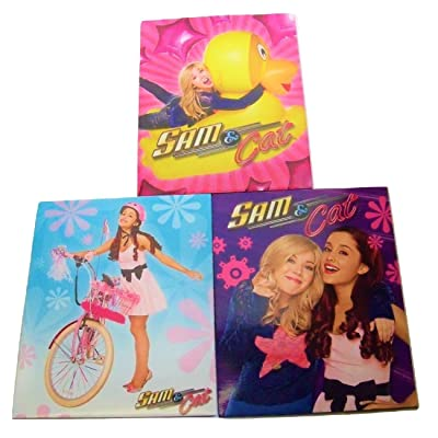 Staples Two Pocket Paper Folder ~ Set of 3 Sam & Cat Folders (Sam and Cat, Rubber Ducky, Pink Bike): Toys & Games