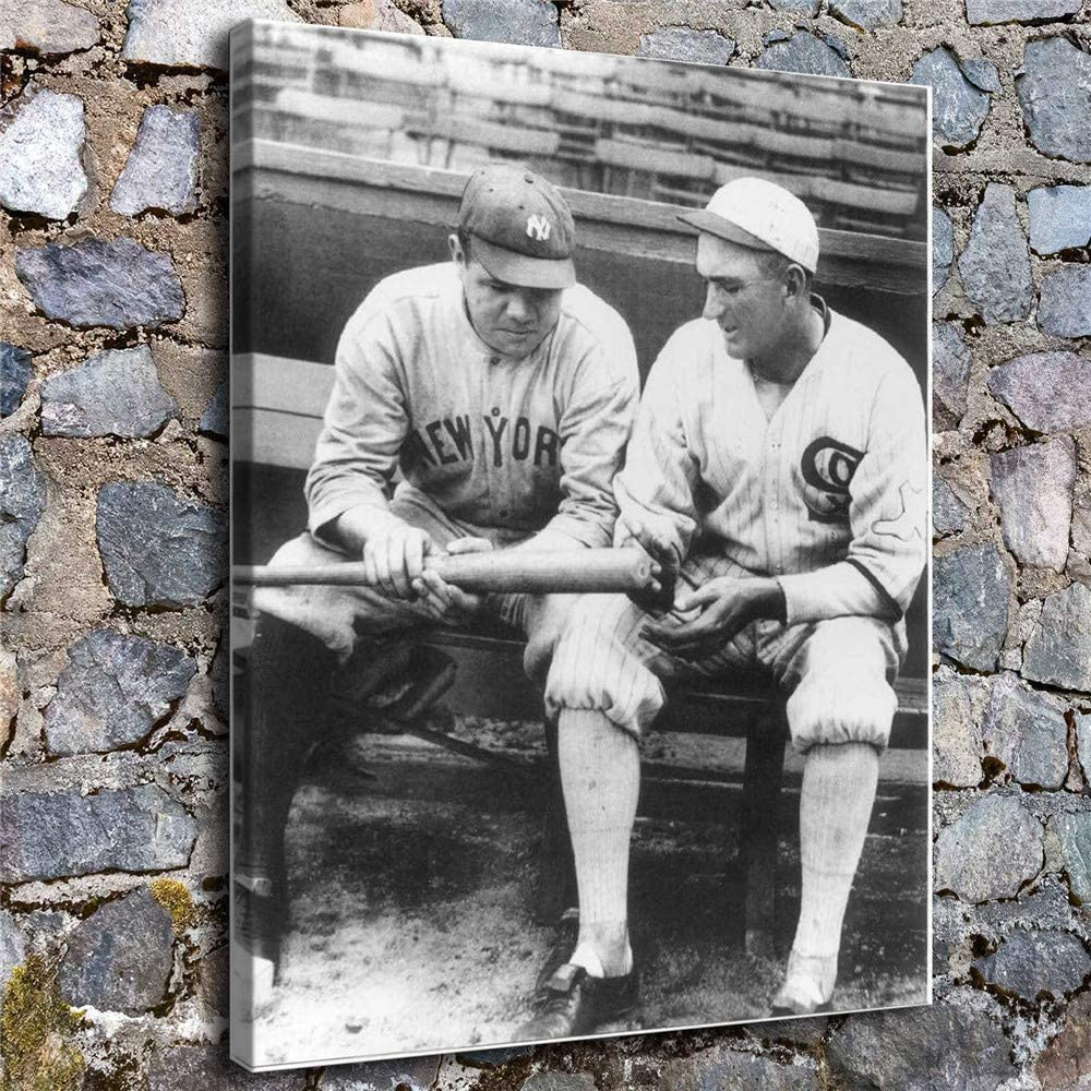 Babe Ruth and Joe Jackson Wall Art Home Wall Decorations for Bedroom Living Room Oil Paintings Canvas Prints 137 (Unframed,16x20 inch)