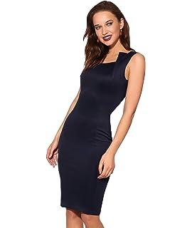 a9a74360e6b3a2 Chigant Damen Spitzenkleid Ärmellos Knielang Kleid Etuikleid für ...