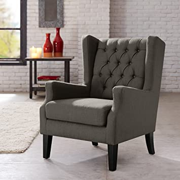 Button Tufted Wing Chair Grey/Maxwell