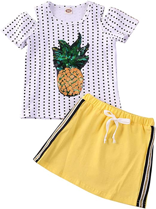 Toddler Baby Kids Girl Clothes Floral Tops Short Sleeve T-Shirt Mini Button Skirt Summer Spring Outfits 2Pcs Set