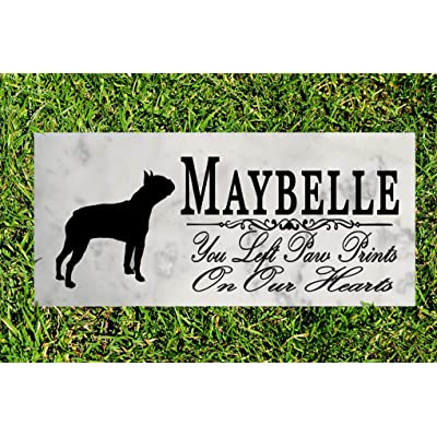 Broad Bay Boston Terrier Dog Memorial Personalized Stone Marker Gift Custom Garden Marker Memory Sign Outdoor Grave Headstone: Kitchen & Dining