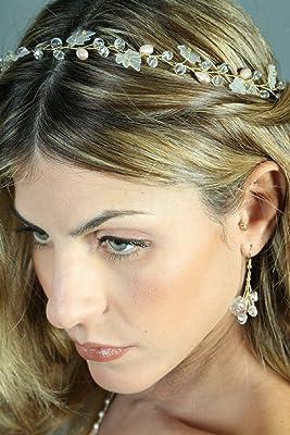 FloweRainboW Handcrafted Pearl Wedding Vine - Floral Wedding Crown, Bridal Vine, Head Vine Handmade
